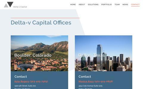 Screenshot of Contact Page deltavcapital.com - Contact - Delta-v Capital - captured March 16, 2019