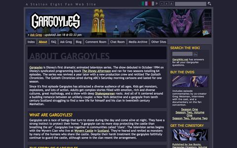 Screenshot of About Page s8.org - About Gargoyles : Gargoyles : Station Eight - captured Jan. 20, 2017