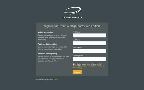 Screenshot of Landing Page urbanairship.com - Urban Airship - Registration - captured Aug. 18, 2016