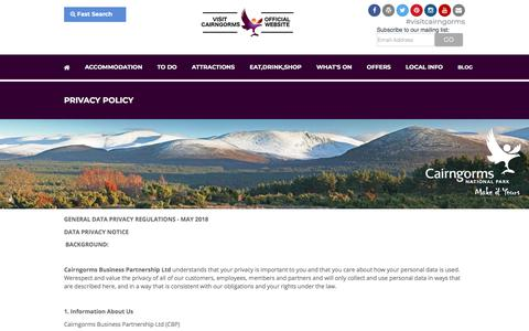 Screenshot of Privacy Page visitcairngorms.com - Privacy Policy | Visit Cairngorms - captured Sept. 23, 2018