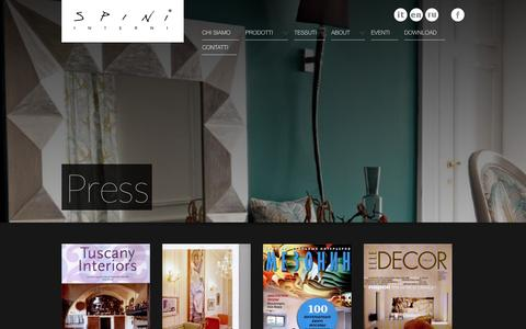Screenshot of Press Page spini.com - Spini - Complementi d'arredo - captured Oct. 1, 2014