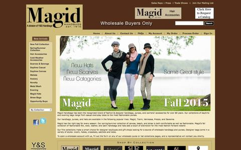 Screenshot of Home Page magidhandbags.com - Magid Wholesale Handbags | Designer Purse Collections - captured Sept. 12, 2015