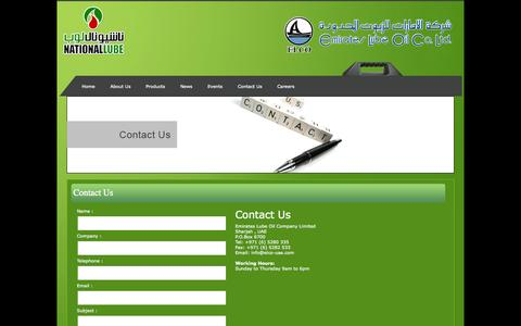 Screenshot of Contact Page elco-uae.com - Welcome to Emirates Lube Oil Company - captured Oct. 2, 2014