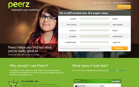 Screenshot of Home Page peerz.net - Highlight your qualities with - Peerz - captured July 11, 2014