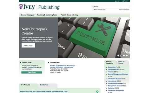 Screenshot of Home Page Privacy Page Jobs Page FAQ Page Site Map Page Terms Page Team Page Pricing Page iveycases.com - Ivey Publishing - Ivey Business School - captured Sept. 19, 2014
