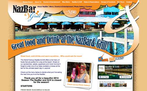 "Screenshot of Menu Page nazbarandgrill.com - The ""World Famous"" NazBar & Grill is Lake Winnipesaukee's BEST Beach Bar! - captured March 17, 2016"