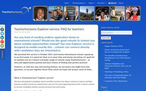 Screenshot of FAQ Page teacherhorizons.com - Teacherhorizons Explorer service: FAQ for teachers • Teacherhorizons - captured Oct. 19, 2018