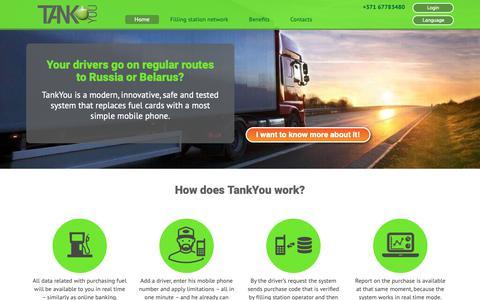 Screenshot of tank-you.lv - Replace fuel cards with a mobile phone —TankYou - captured Nov. 11, 2018
