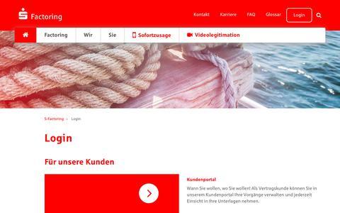 Screenshot of Login Page s-factoring.de - S-Factoring - Login - Unternehmen der Sparkassenfinanzgruppe S-Factoring GmbH - captured May 7, 2018