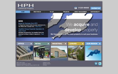 Screenshot of Home Page hph.co.uk - HPH Commercial Property - HPH Limited - captured Oct. 1, 2014