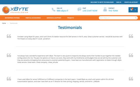 Screenshot of Testimonials Page xbyte.com - Testimonials - captured Feb. 25, 2019