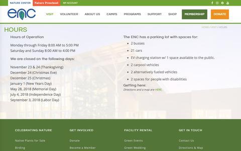 Screenshot of Hours Page encenter.org - Hours | Environmental Nature Center - captured Nov. 10, 2018