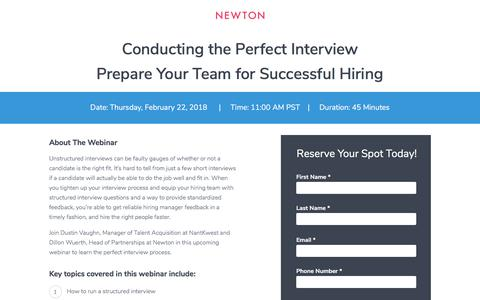Screenshot of Landing Page newtonsoftware.com - Conducting the Perfect Interview - Prepare Your Team for Successful Hiring - captured Feb. 2, 2018