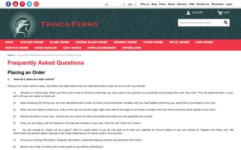 Screenshot of FAQ Page trinca-ferro.com - Frequently Asked Questions About Trinca Ferro Vintage Knobs - captured Feb. 25, 2016