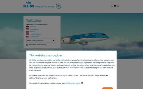 Screenshot of Home Page klm.com - KLM Royal Dutch Airlines – Flights | Vliegtickets | Flüge - captured Sept. 21, 2018