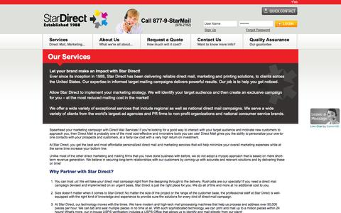 Screenshot of Services Page stardirectmail.com - Direct Mail Marketing, Printing & Distribution | Star Direct Mail - captured Sept. 30, 2014