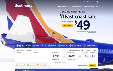 Screenshot of Home Page southwest.com - Southwest Airlines | Book Flights, Airline Tickets, Airfare - captured Feb. 8, 2016