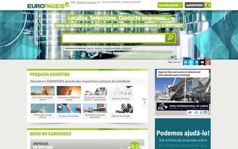 Screenshot of Home Page europages.pt - Pesquisar empresas, produtos e serviços b2b a nível internacional - EUROPAGES - captured Sept. 22, 2014
