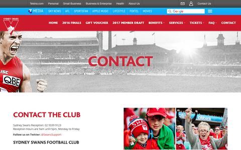 Screenshot of Contact Page sydneyswans.com.au - Contact - Sydney Swans Membership - captured Sept. 5, 2016