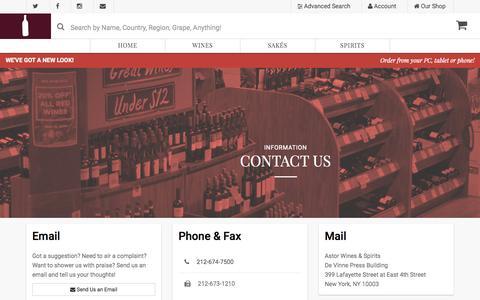 Screenshot of Contact Page astorwines.com - Astor Wines & Spirits - Contact Us - captured Oct. 25, 2015