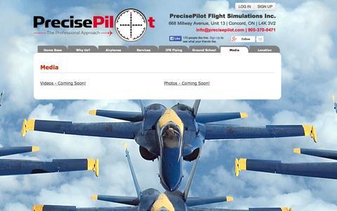 Screenshot of Press Page precisepilot.com - Full motion flight simulator | IFR Training | Toronto | Ontario - captured Nov. 2, 2014