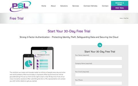 Screenshot of Trial Page penielsolutions.com - Peniel Solutions -   Free Trial - captured Jan. 26, 2016