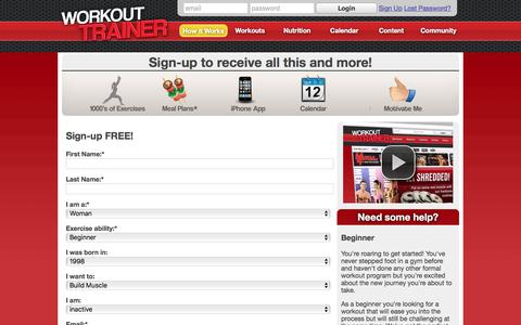 Screenshot of Signup Page workouttrainer.com - Accounts : Workout Trainer - captured Feb. 12, 2016