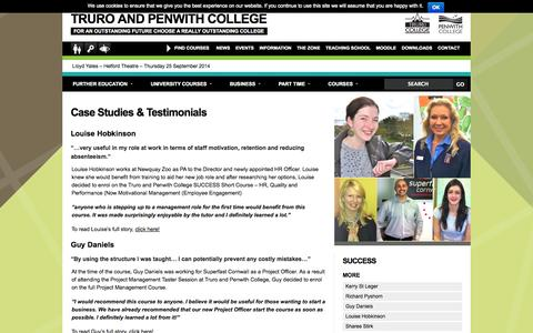 Screenshot of Case Studies Page truro-penwith.ac.uk - Truro and Penwith College  |  Case Studies & Testimonials - captured Sept. 23, 2014