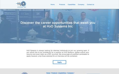 Screenshot of Jobs Page h2osystems.ca - Careers | H2O Systems Inc. Filtration - captured Oct. 8, 2016