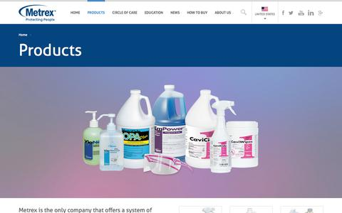 Screenshot of Products Page metrex.com - Disinfectant Products, Hospital Disinfectant Products from Metrex | Metrex - captured Oct. 27, 2014