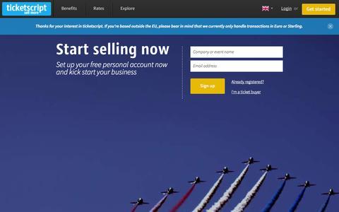 Screenshot of Signup Page ticketscript.com - Sign Up - Start Selling Tickets Online | ticketscript - captured Sept. 12, 2014
