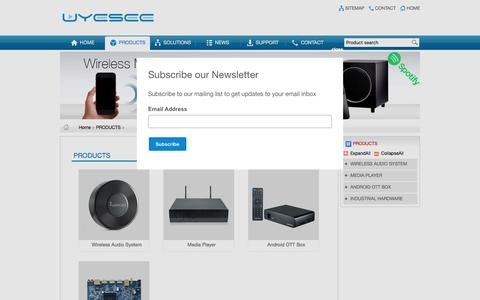 Screenshot of Products Page uyesee.com - PRODUCTS - UYESEE is a Global leading digital technology company - captured Nov. 29, 2016