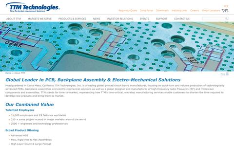 Screenshot of About Page ttmtech.com - Global Leader in PCB, Backplane Assembly & Electro-Mechanical Solutions - TTM Technologies, Inc. - captured Nov. 6, 2018
