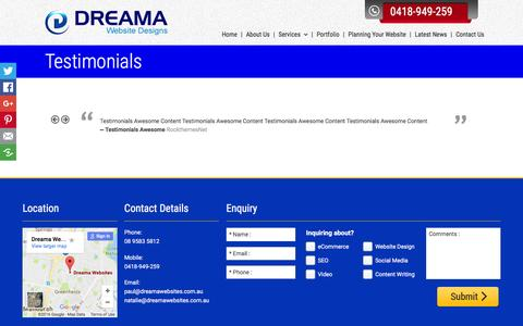 Screenshot of Testimonials Page dreamawebsites.com.au - Dreama Websites | Testimonials | Mandurah to Joondalup - captured Aug. 2, 2016