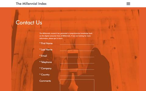 Screenshot of Contact Page themillennialindex.com - The Millennial Index - captured June 11, 2016