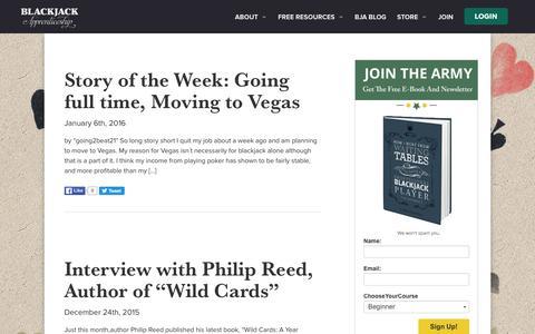 Screenshot of Blog blackjackapprenticeship.com - Blackjack Blog - Card Counting Stories - Blackjack Apprenticeship - captured Jan. 6, 2016