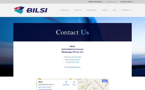 Screenshot of Contact Page Maps & Directions Page bilsi.com - Contact Us - captured Oct. 29, 2014