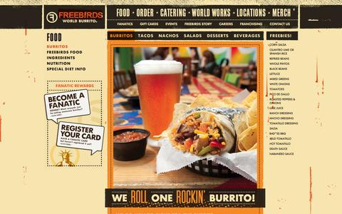 Screenshot of Menu Page freebirds.com - Burritos / Menu :: Freebirds World Burrito - captured Sept. 23, 2014