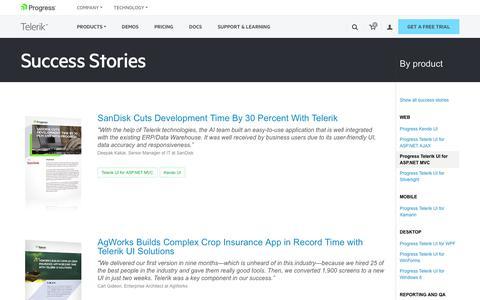 Screenshot of Testimonials Page telerik.com - Telerik UI for ASP.NET MVC >> Telerik Success Stories - captured Jan. 20, 2018