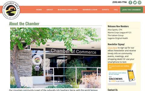 Screenshot of About Page oakhurstchamber.com - About the Chamber - Oakhurst Area Chamber of Commerce - captured Oct. 18, 2017