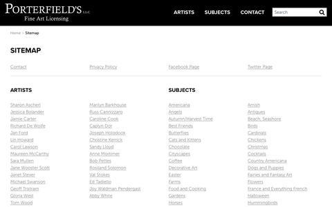 Screenshot of Site Map Page porterfieldsfineart.com - Porterfields Fine Art Licensing Sitemap - captured Sept. 28, 2018