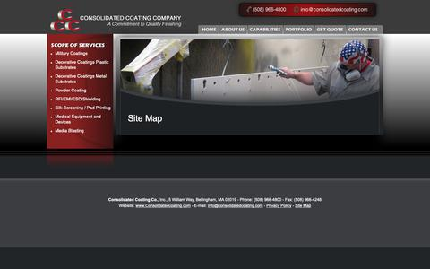 Screenshot of Site Map Page consolidatedcoating.com - Site Map   Consolidated Coating Company - captured Sept. 29, 2018