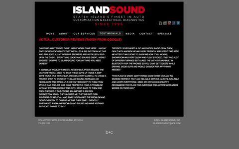 Screenshot of Testimonials Page islandsoundnyc.com - Staten Island Car Audio Repair and Installation - Island Sound NYC - captured Oct. 6, 2014