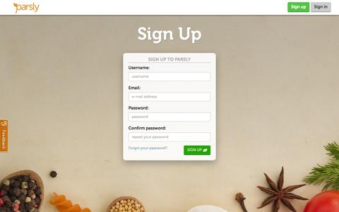Screenshot of Signup Page parsly.co.uk - Parsly: Stress-free food shopping - captured Sept. 23, 2014