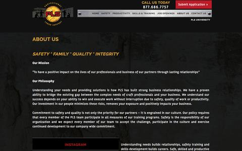 Screenshot of About Page pls.co - About Us - Professional Labor Support, LLC - captured Oct. 1, 2014