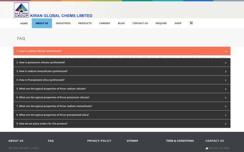 Screenshot of FAQ Page kiranglobal.com - FAQ: Frequently Asked Questions- Kiran Global Chems Ltd - captured Feb. 12, 2016