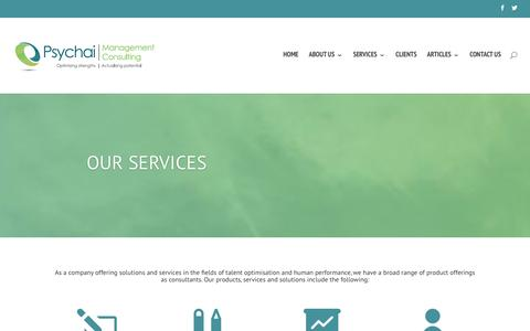 Screenshot of Services Page psychai.co.za - SERVICES - Psychai Management Consulting - captured Feb. 1, 2016