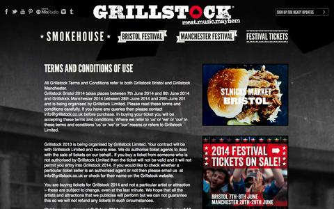 Screenshot of Terms Page grillstock.co.uk - Terms and Conditions of Use | GrillstockBBQ and Music Festival - captured Sept. 30, 2014