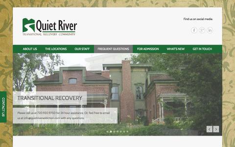 Screenshot of FAQ Page quietriveraddiction.com - Questions » Quiet River Addiction Center - captured Oct. 3, 2014