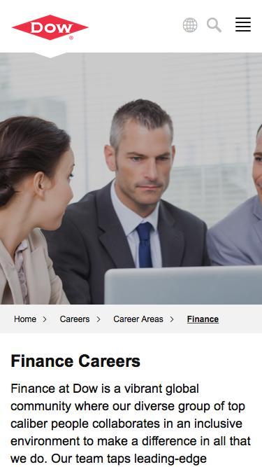 Screenshot of Jobs Page  dow.com - Finance Careers   Dow